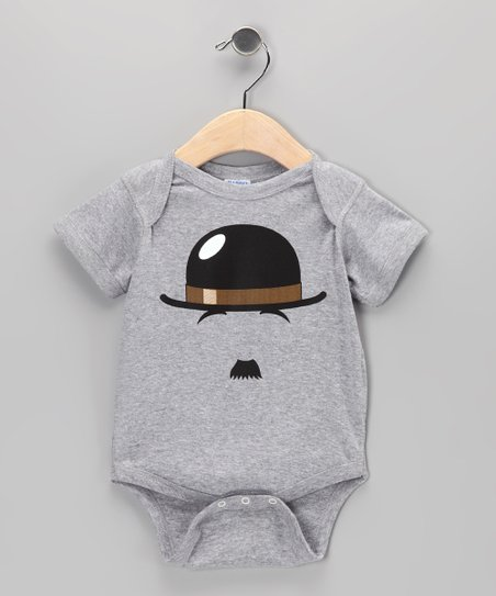 Athletic Heather Chaplin Mustache Bodysuit - Infant