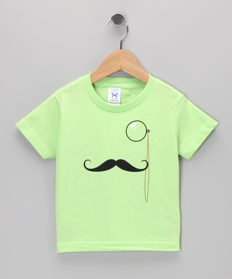 Key Lime Monocle Mustache Tee - Toddler &amp; Kids