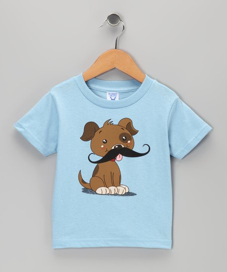Light Blue Puppy Mustache Tee - Toddler & Kids