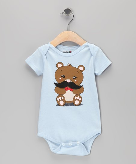 Light Blue Teddy Bear Mustache Bodysuit - Infant