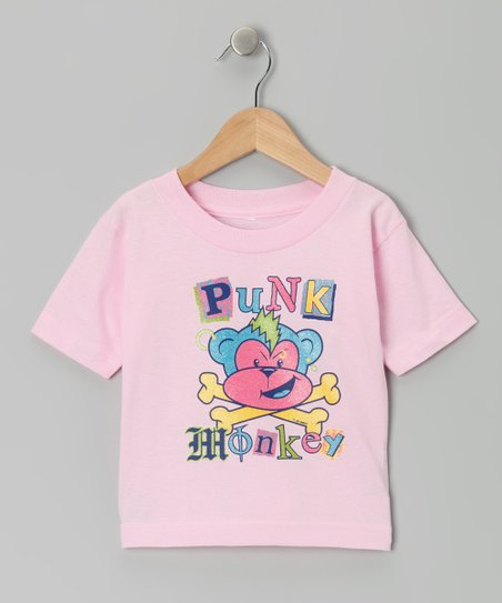 Light Pink 'Punk Monkey' Tee - Infant, Toddler & Girls