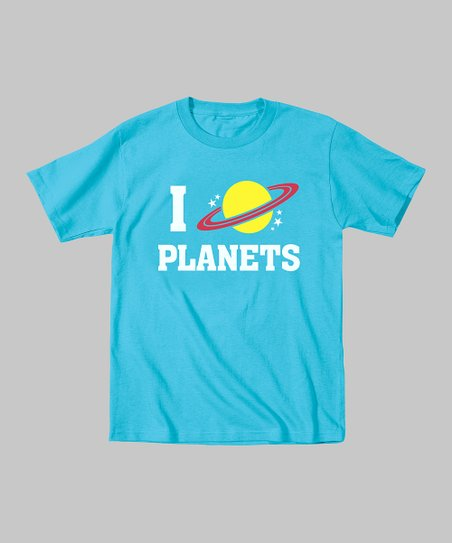 Turquoise 'I Love Planets' Tee - Toddler & Kids