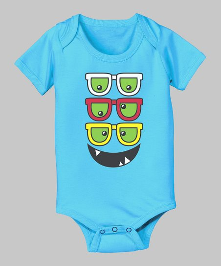 Turquoise Monster Glasses Bodysuit - Infant
