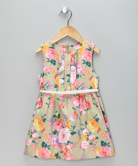 Beige & Pink Flower Dress & Belt - Toddler & Girls
