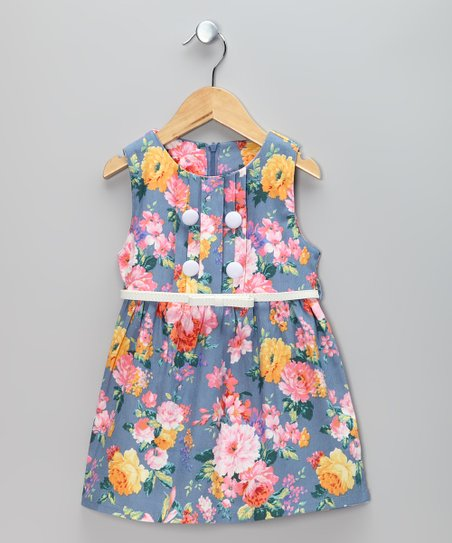 Blue & Pink Flower Belted Dress - Toddler & Girls