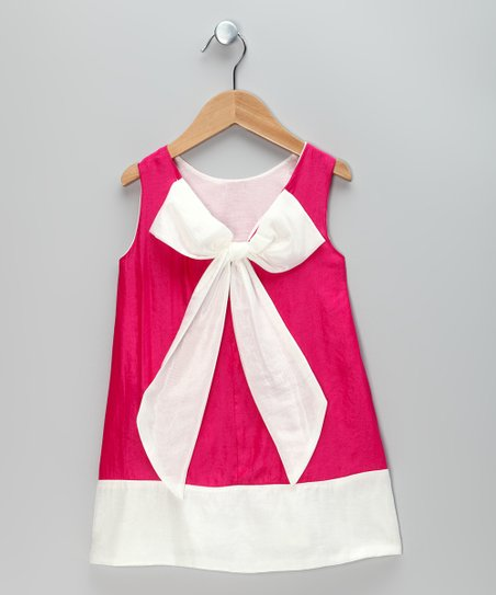 Hot Pink & White Bow Dress - Toddler & Girls