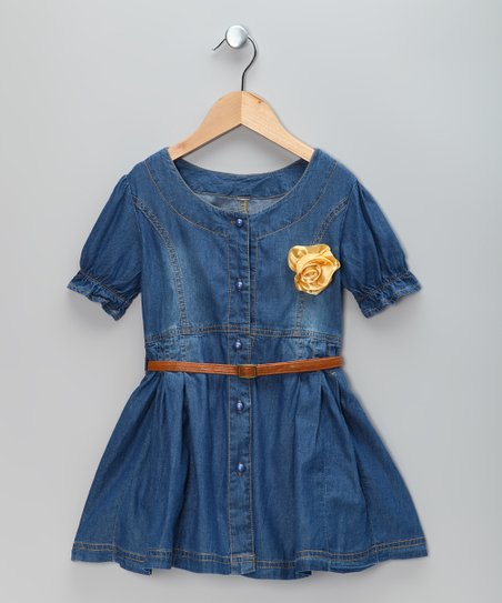 Blue Denim Flower Dress &amp; Belt - Toddler &amp; Girls