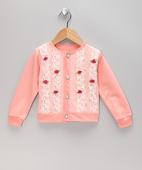 Pink Polka Dot Rose Lace Cardigan - Toddler & Girls