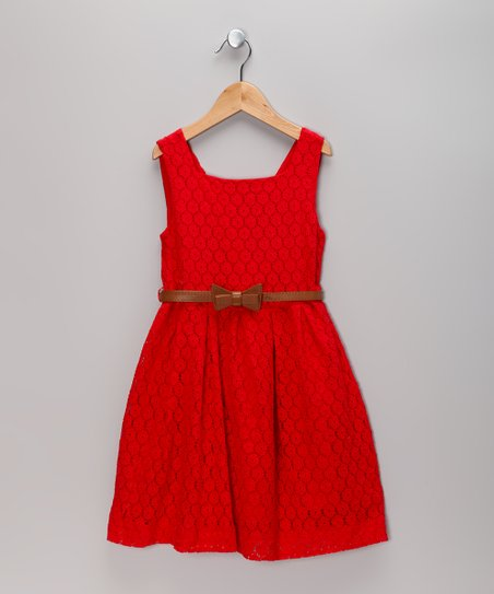 Red Lace Dress & Belt - Toddler & Girls