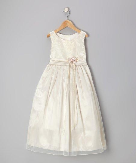 Champagne Floral Ribbon Sash Dress - Infant, Toddler & Girls