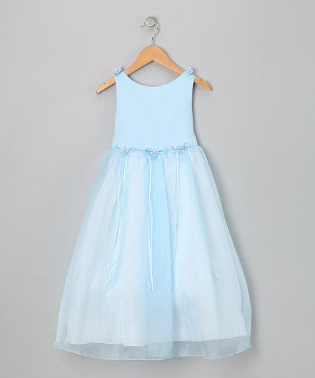 Blue Satin Organza Dress - Toddler & Girls
