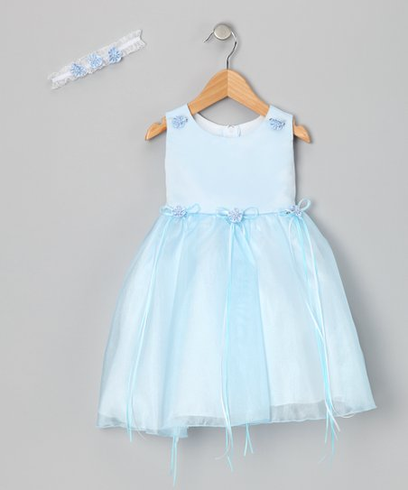 Blue Bow Dress &amp; Headband - Girls