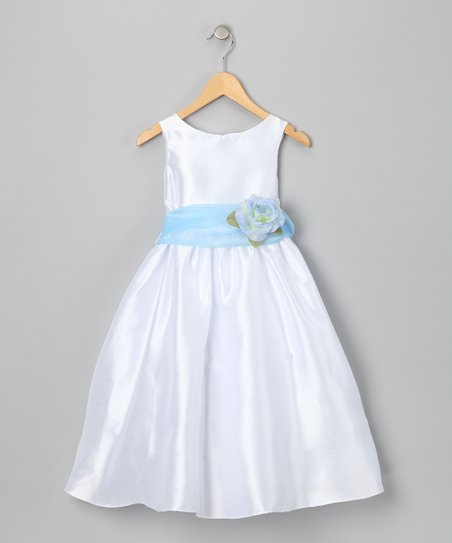 White &amp; Blue Flower Dress - Toddler &amp; Girls