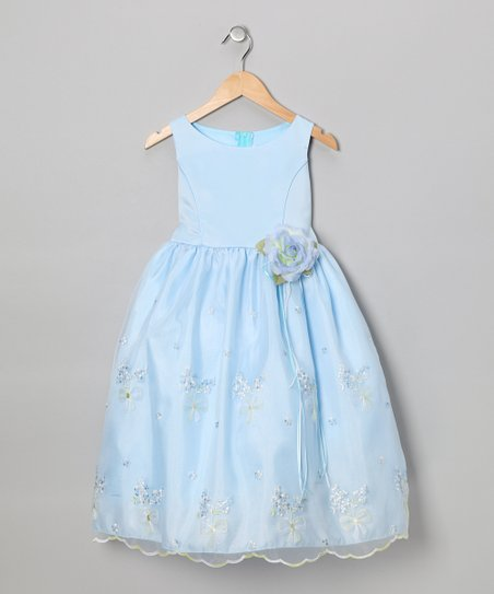 Blue Embroidered Floral Dress - Toddler & Girls