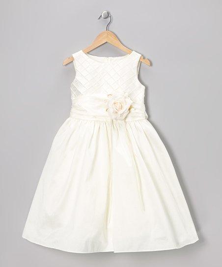 Ivory Embellished A-Line Dress - Toddler & Girls