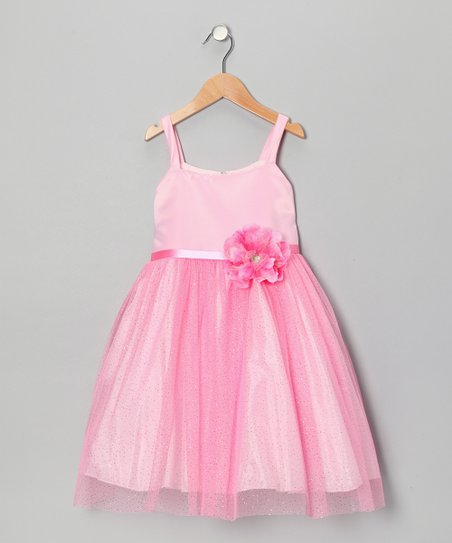 Pink Glitter Flower Babydoll Dress - Toddler & Girls