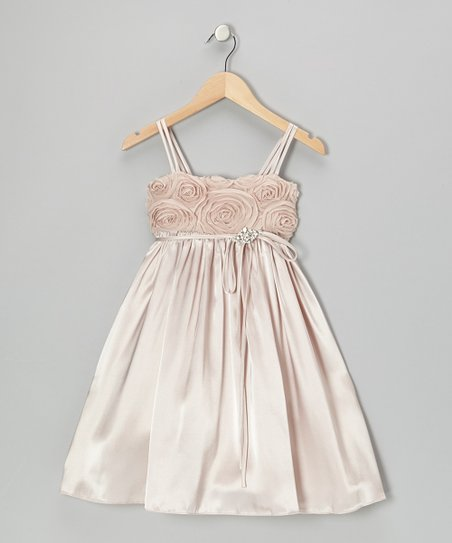 Champagne Rosette Satin Babydoll Dress – Toddler & Girls
