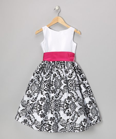 Fuchsia & Black Damask Velvet Dress - Infant, Toddler & Girls