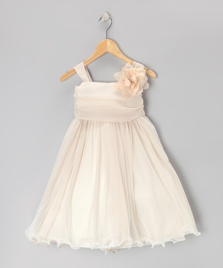 Champagne Flower Chiffon Babydoll Dress - Toddler & Girls