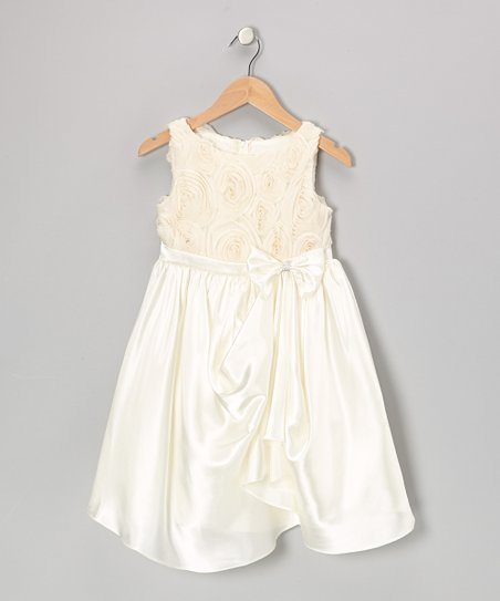 Ivory Rosette Gathered Dress – Toddler & Girls