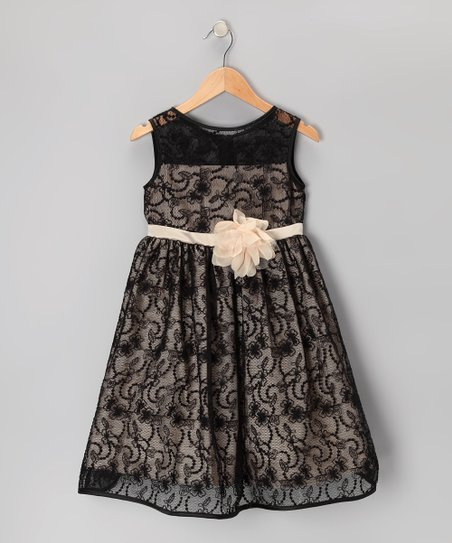 Black & Champagne Lace Dress – Toddler & Girls