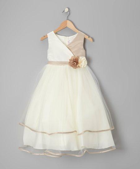 Champagne & Ivory Flower Surplice Dress - Toddler & Girls