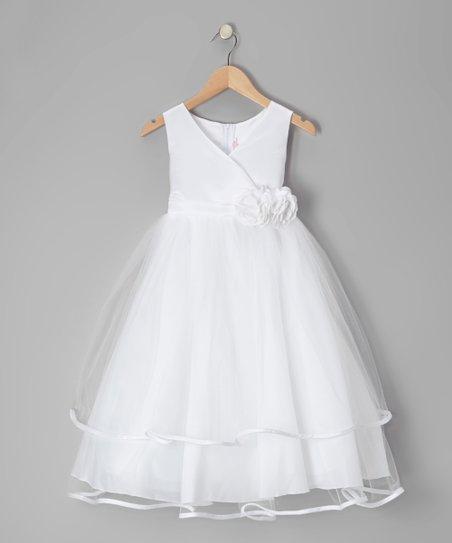 White Embellished Surplice Dress - Toddler & Girls