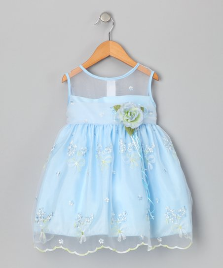 Blue Sheer Embroidered Dress - Girls