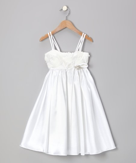 White Rosette Dress - Toddler & Girls
