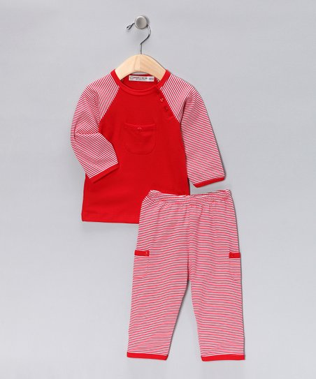Red & White Stripe Cayden Tee & Pants - Infant