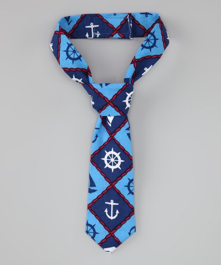 Blue & White Anchor Tie
