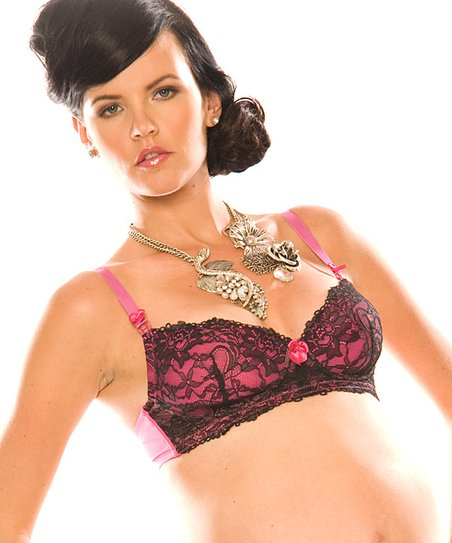 Black & Pink Bella Cerise Wireless Nursing Bra
