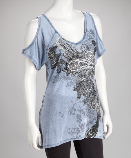 Blue Paisley Cutout Top