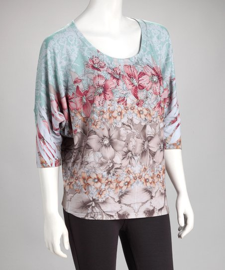 Pink & Blue Floral Dolman Top