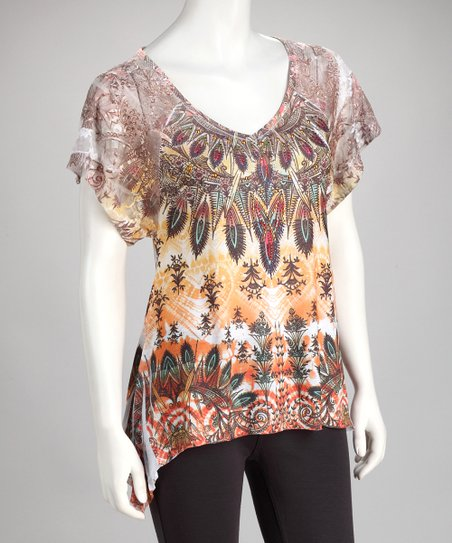 Orange Tribal Lace Burnout Top