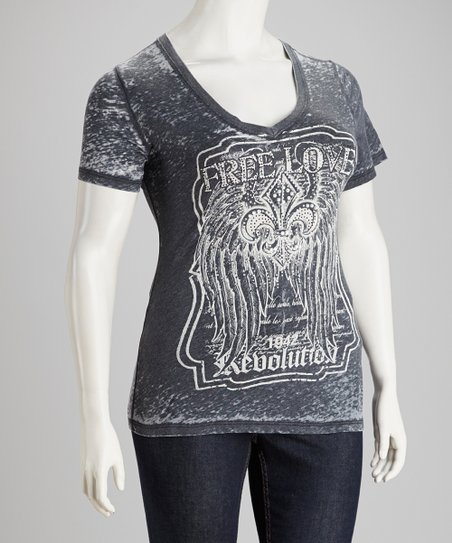 Charcoal Graphic Short-Sleeve Top - Plus