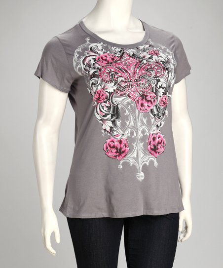 Gray Fleur-de-Lis & Rose Tattoo Top - Plus