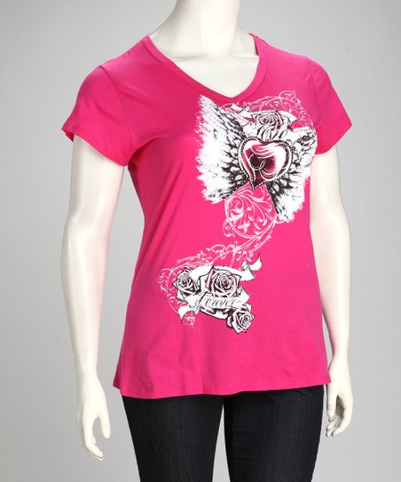 Fuchsia Heart & Wing Tattoo Short-Sleeve Top - Plus