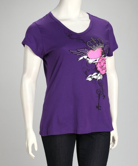 Purple Heart & Crown Short-Sleeve Top - Plus