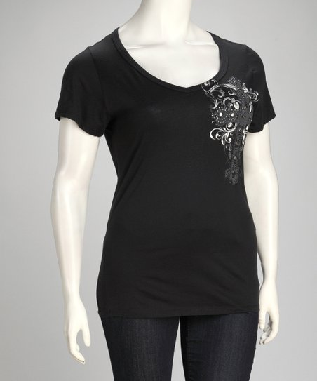 Black Embellished Cross Tattoo Tee - Plus