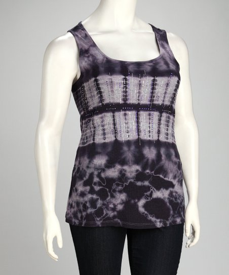 Denim Blue Tie-Dye Tank - Plus