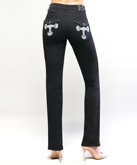 Black Oxford Straight-Leg Jeans