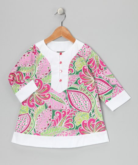Pink & White Tropical Paisley Tunic - Girls