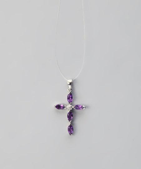 Amethyst &amp; Sterling Silver Diamond Cross Pendant