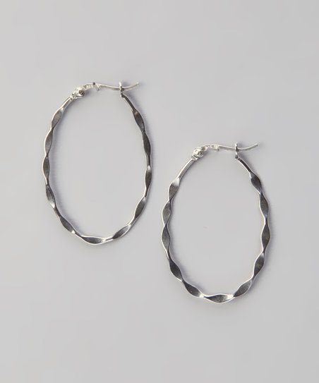Silver Twisted Large Oval Hoop Earrings