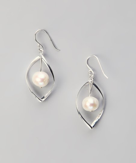 Sterling Silver & Pearl Leaf Earrings