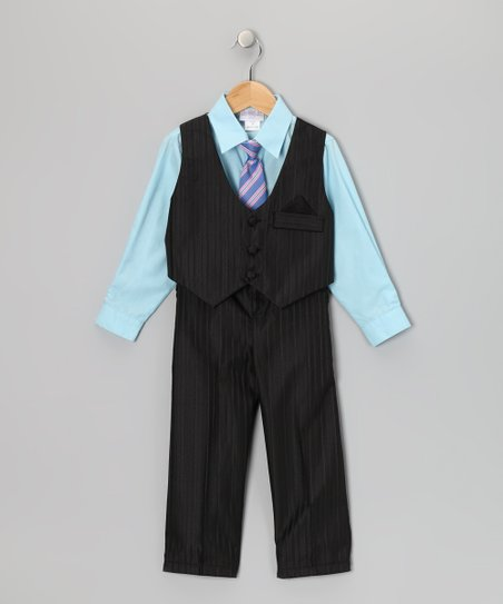 Black &amp; Aqua Pinstripe Vest Set - Toddler &amp; Boys