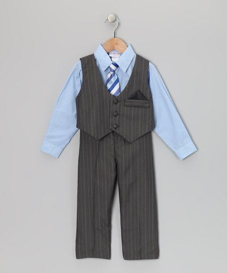 Blue & Gray Pinstripe Vest Set - Toddler