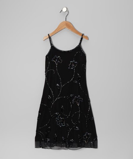 Black Floral Beaded Dress - Toddler & Girls