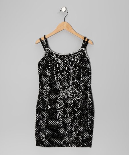 Black Sequin Pearl Dress - Girls